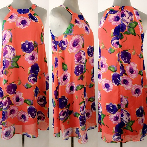 f2aaa32a1a15 Betsey Johnson Dresses | Floral Chiffon Halter Dress | Poshmark